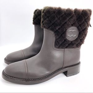 Chanel Auth. Matelasse Mouton Shearling Boots NWOT